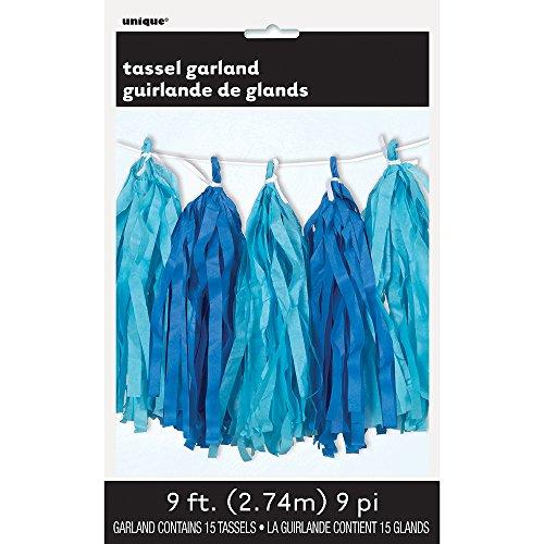 Unique Party 62961 - 9ft Tissue Paper Royal Blue & Light Blue Tassel Garland