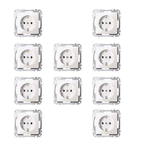 Merten MEG2300-0319 SCHUKO-Steckdose mit Kinderschutz, Steckklemmen, polarweiß glänzend, System M 10er Pack