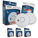 3 x Nemaxx HW-2 detectores de Humos sin Hilos detectores de Humo detectores de Calor con Sensor Combinado de Humos y térmico según la DIN EN 14604 + 3