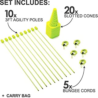 QuickPlay PRO Speed + Agility Set, Multi-Sport Training Agility Poles | Cones | Speed Hurdles | Soccer Tennis | Crowd Barrier