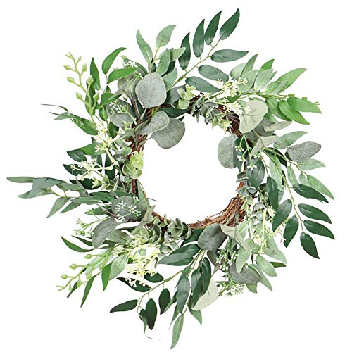 XIAMIMI Seeded Eucalyptus Leaf Wreath Garland Simulation Eucalyptus Round Leaf Wall Mount Horseshoe Garland Door Liner Home Decoration