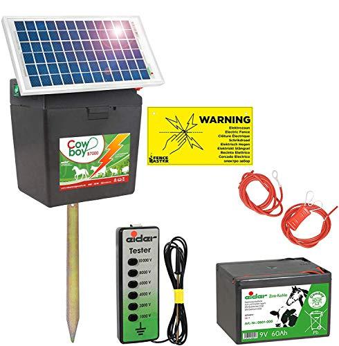 Eider Solar Weidezaungerät B 7000 mit 5 Watt Solarpanel & 9V Batterie 60 Ah - verlängerte Batterielaufzeit durch Moderne Solartechnik - erste Wahl für Pferde- & Ponyzaun