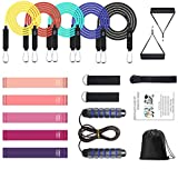 Resistance Bands for Women, 17Pcs Resistance Bands Set with Handles, 5 Exercise Workout Loop Bands, 5 Stackable, Ankle Straps, Door Anchor, Sport Skipping for Working Out