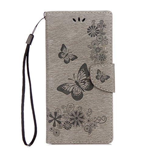 ISAKEN Sony Xperia XA1 Hülle, PU Leder Flip Cover Brieftasche Ledertasche Handyhülle Tasche Hülle Schutzhülle mit Handschlaufe Strap für Sony Xperia XA1 - Schmetterlinge Blumen Grau
