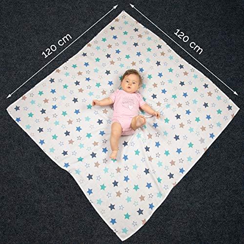120x120 cm Zollner 2 mantas de muselinas de algod/ón para beb/é extra grandes