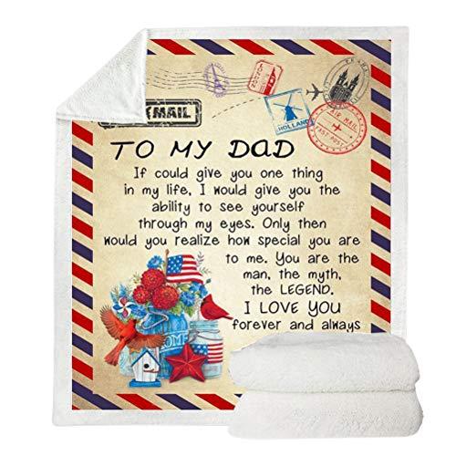A mi Madre Manta de Hija, a mi Padre Manta de Franela Mensaje Personalizado Carta Impresa edredones, animo y Valiente Manta de Correo aéreo Regalo para Navidad y Acción de Gracias