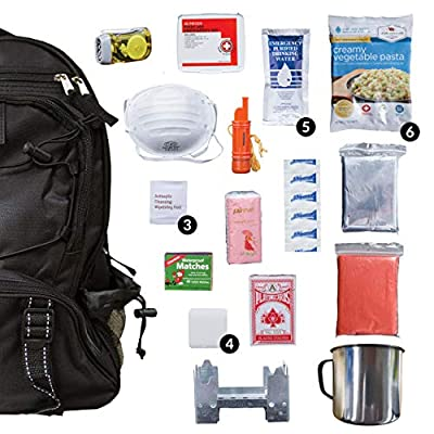 Wise Food Emergency Survival Backpack Kit, Great Go Bag For Hurricanes, Fires, Earthquakes - Black from Wise Company