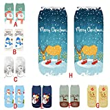YWLINK Calcetines navideños impresos en 3D, lindos y cálidos,Calcetines transpirables medianos (A, Tamaño libre, one_size)