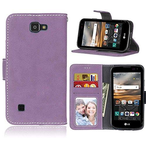 LG K3 / LS450 Hülle, SATURCASE Retro Mattiert PU Leder Flip Magnetverschluss Brieftasche Standfunktion Kartenschlitze Schützend Tasche Hülle Schutzhülle Handycover für LG K3 / LS450 (Lila)