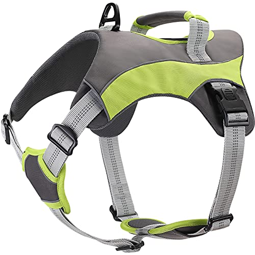 F-color Dog Harness No Pull, Walking Dog Harness for Large Dogs with Adjustable Reflective Nylon, Dog Vest Harness Green Handle D-Rings Back Leash Attachments for Small Medium Large Dogs, Extra Large