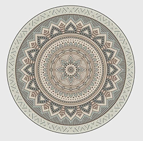 Alfombra Redonda baño esponjosa, Gran Valor,, Alfombra Hermosa,Agradable y Suave,Muy Feliz,150cm de diámetro,Estampado de Flores nórdico Gris