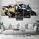Yuanjun Cuadros Modulares De Las Ilustraciones De La Pared De La Pintura De La Lona Para La Sala De Estar 5 Panel/Set Impreso En La Pared 150X80Cm Carreras De Motos