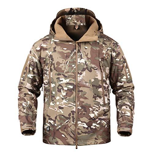 YuanDian Herren Tactical Camouflage Softshelljacke Herbst Winter Outdoor Armee Military Fleecejacke Wasserdicht Winddicht Warm Mit Kapuze Trekking Wander Skijacke Jagd Mantel CP XL