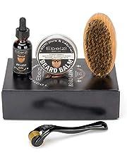 Ebeizi Baard Grooming Kit voor mannen, baard derma roller voor mannen baard groei, inclusief baard olie, baard balsem, baard borstel, baard gift kit voor mannen