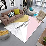 Kunsen alfombras Dormitorio Matrimonio Decoracion hogar Salon Alfombra de la Sala de Estar geométrico Moderno Rosa Blanco Amarillo Rectangular Felpudo Alfombra Infantil niño 80X160CM 2ft 7.5' X5ft 3'