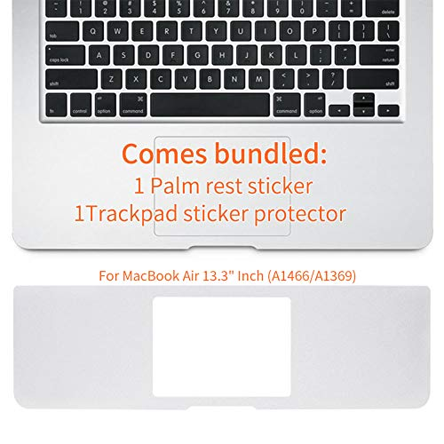 MMDW 13 inch Palm Rest Cover with Trackpad Protector Sticker Skin Silver for MacBook Air 13.3' Inch (A1466/A1369,Older Version Release 2010-2017)