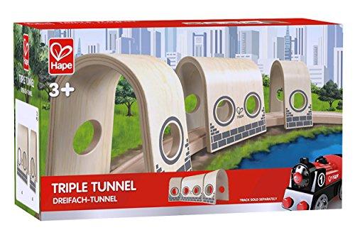 Hape - E3711 - Circuit de Train en Bois - Triple Tunnel