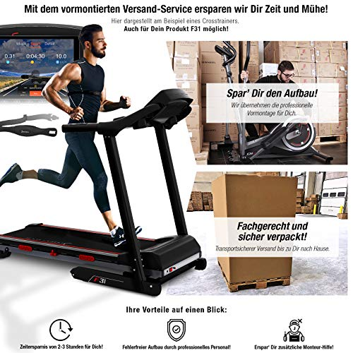Sportstech F31 Profi Laufband inkl. VORMONTAGE | Deutsches Qualitätsunternehmen | Video Events & Multiplayer App über LCD Monitor | Smartphone kompatibel | 4PS bis 16km/h | Heimtrainer Easy klappbar