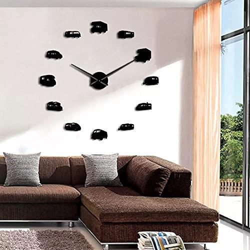 YQMJLF Reloj Pared DIY 3D Grande Arte Pared Grande Camper Bus Motor decoración hogar RV Camping DIY Reloj Pared silencioso Gigante Remolque Viaje Transporte Vehículos recreativos Reloj Pared