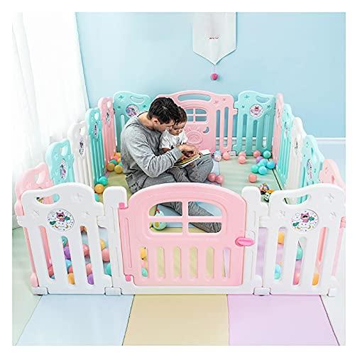 16 Paneles Portátil Vallado for bebés,Plegable Valla de Juegos for niños Interiores Y Exteriores Parque Infantil for Bebés, Robusta Parque de Juegos bebés, para Niños De 10 Meses A 6 Años
