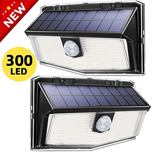 Luce Solare LED Sensore di Movimento, Lampada Solare 300 LED, IP67 Impermeabile, Luce Solare Giardino, Lampada Solare Esterni, Super SunPower Pannello Solare, Parete