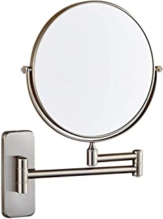 مرايا ماكياج تثبت على الحائط، حمام مزدوجة الوجهين التكبير قابل للتعديل قابل للتمديد الدوار فانيتي مرايا مستحضرات التجميل