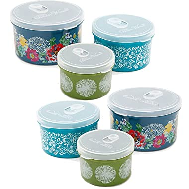 The Pioneer Woman Round Food Storage with Vent Container, Set of 3 in Vintage Garden 2- Pack