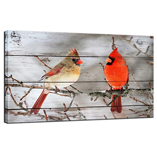 LevvArts - Modern Canvas Wall Decor Northern Cardinals on Tree Pictures Red Birds Painting for Home Living Room Decor Winter Scene Artwork Framed Ready to Hang,20x36inches