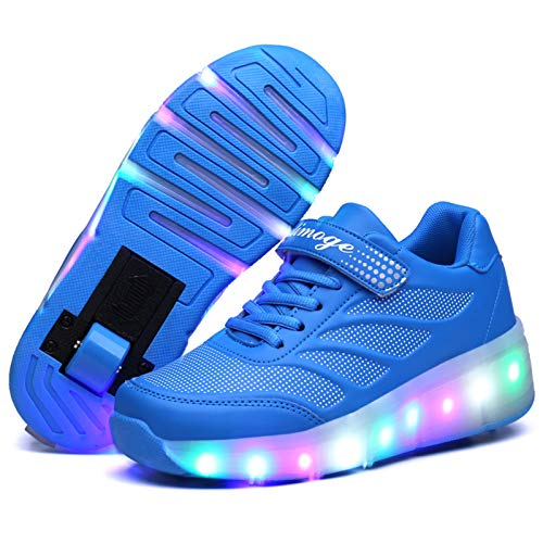 LED Iluminado Zapatillas con Ruedas Zapatillas Deportivas LED para Niños Niña Niño LED Luces Skate Roller Zapatos, Patines Deportes Parpadeantes Ajustable Rueda Roller Moda Gimnasia Zapatos de Skat