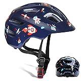 GLAF ヘルメット こども用 自転車 ヘルメット 1-8歳 頭囲 46~54cm 子供用 キッズ 超高耐衝撃性 耐久性 軽量 サイクリング スケートボード ローラースケート 幼児 小学生 (ダークブルー, S(50~54cm))