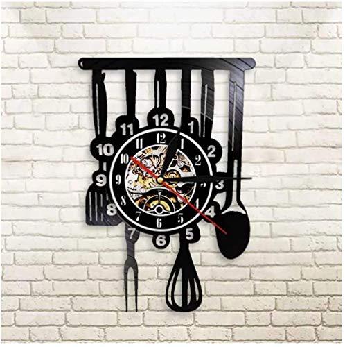 Reloj de Pared de Vinilo Utensilios de Cocina Reloj de Pared con Disco de Vinilo Regalo Creativo Niños y niñas Adolescentes Amigos Diseño de Arte único Reloj de Pared de Vinilo 12 Pulgadas