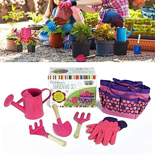 CABINA HOME Ensemble d'outils de jardinage pour enfant avec pelle et fourchette rose bonbon