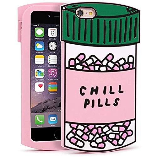 Vivid Colorful Chill Pills Case for iPhone 6 Plus / 6S Plus + ( 5.5 inches ), 3D Cartoon Cute Funny Kawaii Cool Soft Silicone Rubber Phone Case for iPhone 6 plus / 6S plus for Girls Boys Kids Teens