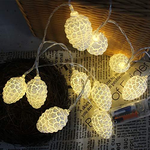 Kapmore Led-lichtsnoer, lichtsnoer met 20 leds, pineco, koper, draadlicht, fairy