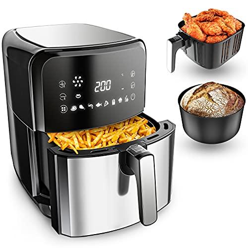 VANDENBERG Friggitrice ad aria calda - 5,5L - 12 programmi - 1700W - Airfryer - Senza olio&grasso - Cestello per pane&frittura - Rivestimento antiaderente, Touchscreen, Cool-Touch