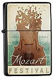LEotiE SINCE 2004 Feuerzeug Schwarz Benzinfeuerzeug Sturmfeuerzeug Metallfeuerzeug Mozart Geige