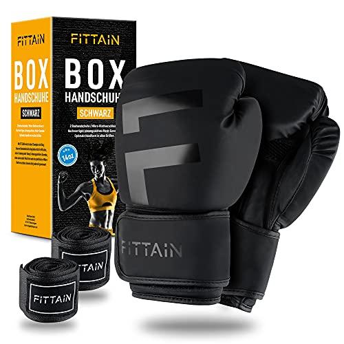 FITTAIN – Profi Boxhandschuhe – Atmungsaktives Mesh – Größe 8-14 Oz – Mit Bandagen – Optimale Handform – Mikro-Klettverschluss – Für Training mit Boxen, Kickboxen