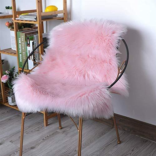ZPX Tapis en Peau de Mouton,Tapis Duveteux en Fausse Fourrure,Tapis universels de différentes Tailles utilisés dans la Chambre à Coucher, Le Salon, la Chaise ou Le canapé(Rose, 50x80cm)