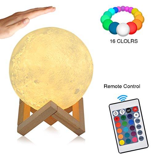 3D Lampada Luna Stampata, 16 Colori RGB Luce Lunare Notturna Luminosità Regolabile,Telecomando & Controllo Tattile,Decoro per Stanza Letto Mood Light per Camera(diametro 5.9 inch)