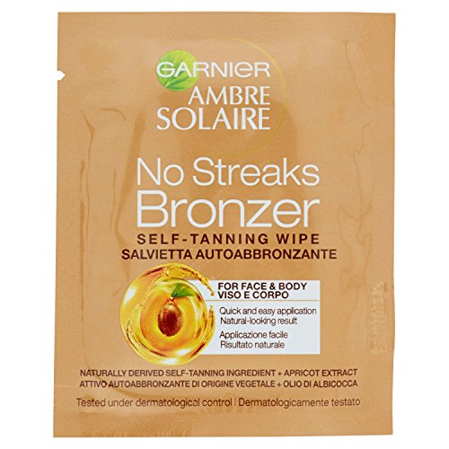 Ambre Solaire - No Streaks Bronzer by Garnier Self-Tan Face Wipe (One Singular Sachet)