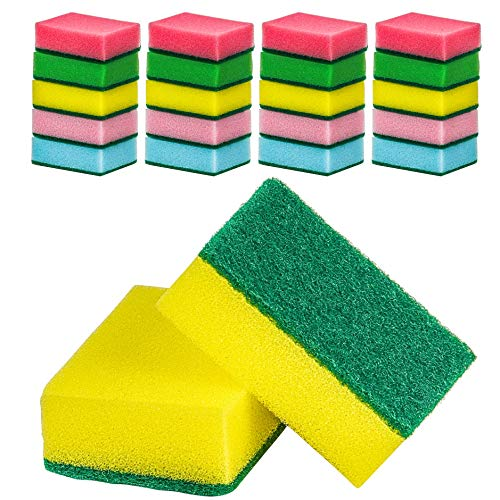 DecorRack Multicolored Cleaning Sponges, Heavy Duty Scouring Scrubbing Side and Absorbent Side, for Kitchen, Dishes, Tables, Bathroom, Car Wash, Assorted Colors (Pack of 20 (Straight))