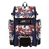 Boombah Catchers Superpack Hybrid Rolling Bat Bag - Rocket Royal/Red/White - Wheeled & Backpack Version