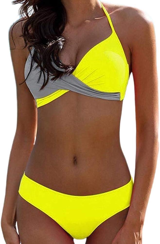 Jfan, costume due pezzi da bagno push up per donna, reggiseno imbottito, giallo
