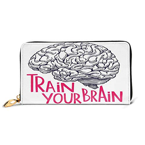 Women's Long Leather Card Holder Purse Zipper Buckle Elegant Clutch Wallet, Positive Quote On Human Brain Intelligence Head Skull Humor Modern Image Art,Sleek and Slim Travel Purse