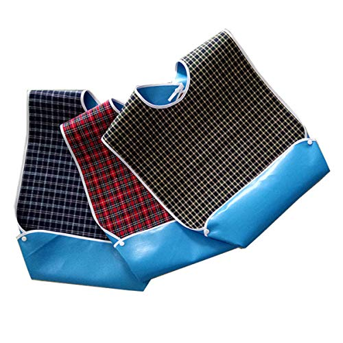 Paquete de 3 baberos para adultos con recogedor de migas opcional, impermeables, protector de ropa para el tiempo de comida, delantal de ayuda para adultos para personas mayores, pacientes y adultos