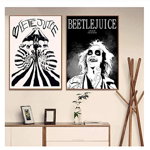 XuFan Beetlejuice Dibujos Animados Estilo cómico Carteles e Impresiones Lienzo Pintura Arte de la Pared Imagen Cartel Vintage Decoración Decorativa para el hogar-50x70cmX2 Sin Marco