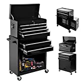 8-Drawer Tool ChestTool Box with Sliding Drawers,Detachable Organizer Tool Box Combo,Mobile Lockable Toolbox for Workshop Mechanics Garage (cool Black)