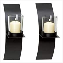 Smart Living Company Modern Art Candle Holder Wall Sconce Plaque, Set of 2