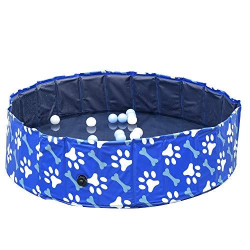 Pawhut Piscina Rigida per Cani Taglia Media 65kg in Plastica Dura e Antiscivolo per Giardino o Interni, Blu Φ120x30cm