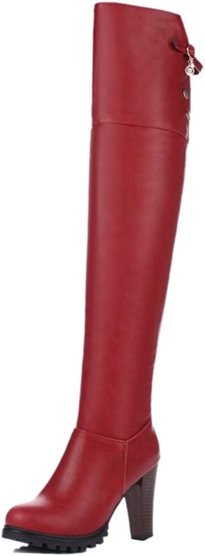 Smilice Women Dress High Block Heel Over The Knee High Boots with Zip Black